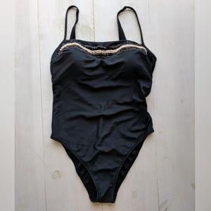 Gottex black one-piece high cut thigh Size 12